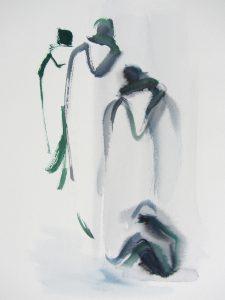 Peinture - Moines, Micheline Reboulleau - Rencontres buissonnieres