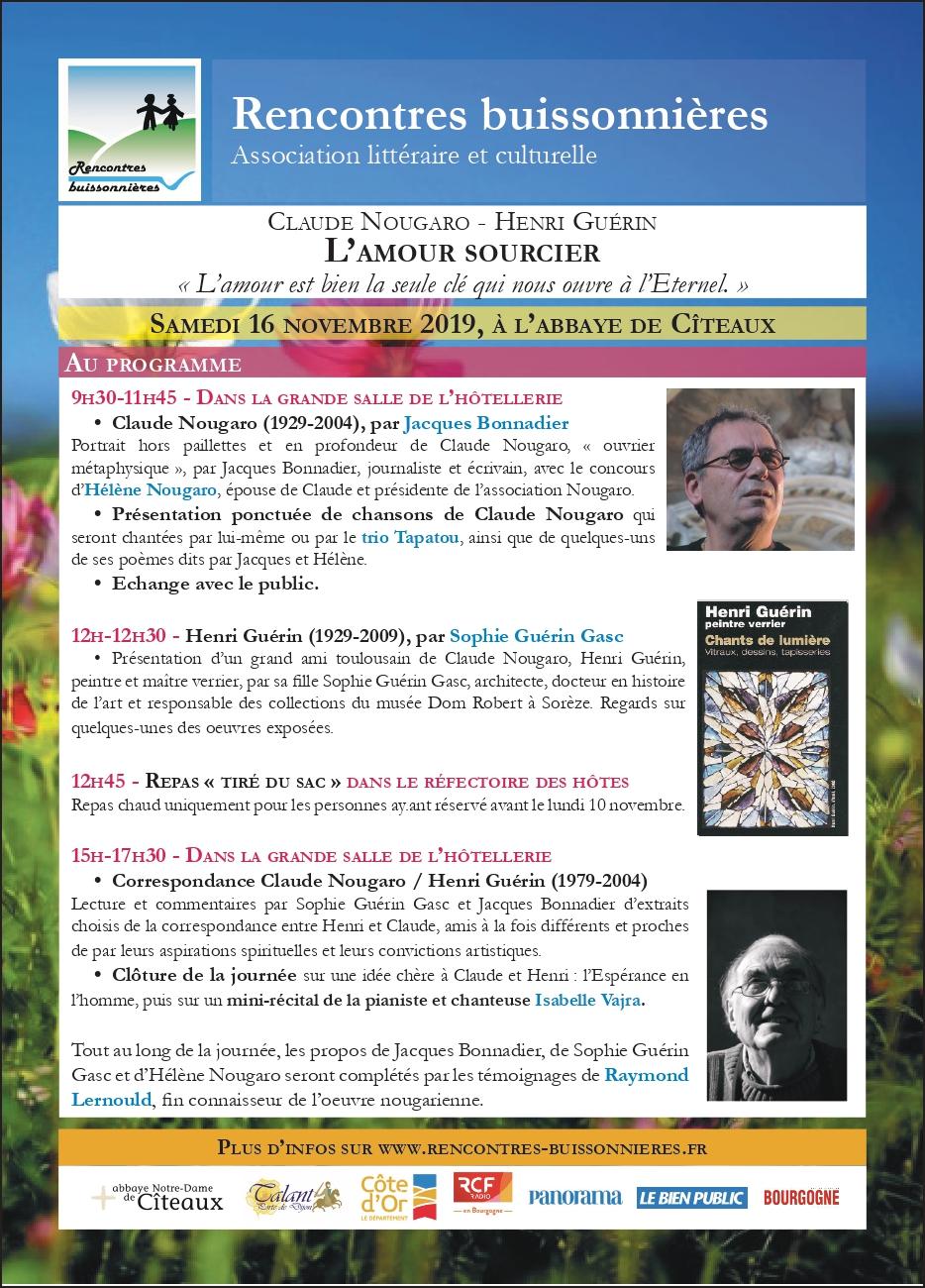 Programme - 16 novembre 2019 - rencontres buissonnières